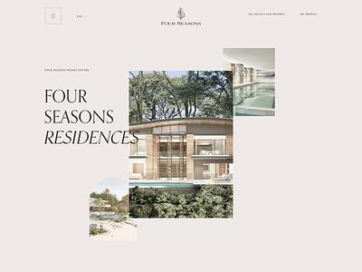 Four Season. Residences page animation minimal web ui ux design