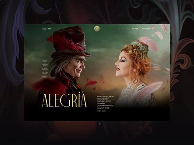 Cirque du Soleil redesign. Alegria animation website typography photoshop branding minimal web design ui ux