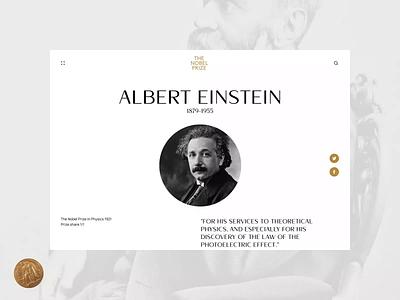 Nobel Prize. Redesign concept. Albert Einstein animation website typography photoshop branding minimal web design ui ux