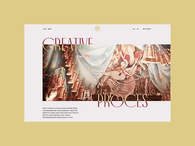 Cirque du Soleil redesign. Creative Proces animation website typography photoshop branding minimal web design ui ux