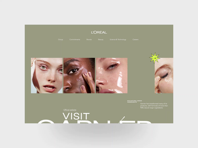 Loreal. Garnier animation website typography photoshop branding minimal web design ui ux