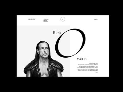 Rick Owens. About animation website typography photoshop branding minimal web design ui ux