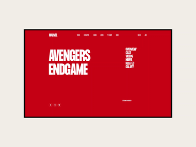 Marvel. Avengers Endgame animation website typography photoshop branding minimal web design ui ux