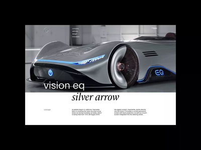 Mercedes-Benz redesign. Vision eq silver arrow animation website typography photoshop branding minimal web design ui ux