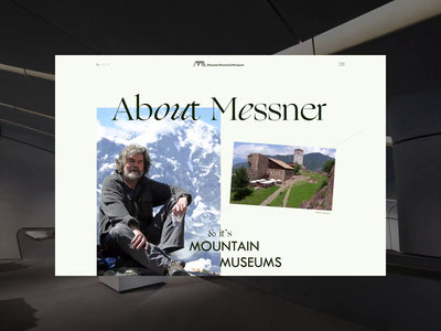 Messner Mountain Museum ― New Website '21. About animation website typography photoshop branding minimal web design ui ux