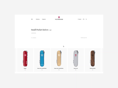 Victorinox — Concept Website. Catalog animation website typography photoshop branding minimal web design ui ux