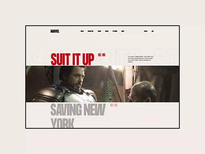 Marvel. Iron Man animation website typography photoshop branding minimal web design ui ux