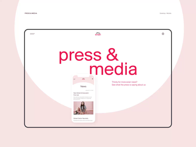 Evian website redesign. Press & Media animation website typography photoshop branding minimal web ui design ux