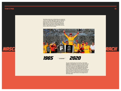 Nascar. Team`s Page animation website typography photoshop branding minimal web ux ui design