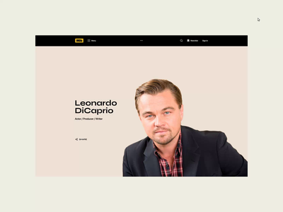 IMDb — New website. Leonardo DiCaprio animation app website photoshop typography minimal web design ui ux