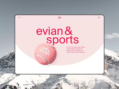 Evian website redesign. Sports minimal app animation website typography photoshop design ui ux web