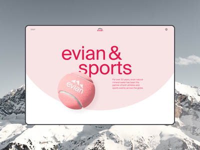 Evian website redesign. Sports minimal app animation website typography photoshop design ui ux web