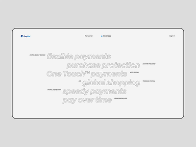 PayPal app animation website typography photoshop minimal design ui ux web