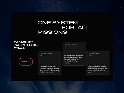 ULA — New Website. Vulcan Centaur Rocket animation minimal web ux design ui
