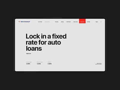 Bank Of America Website — Rethinking. Auto Loans animation minimal web ux design ui