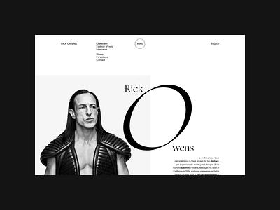 Rick Owens. About animation minimal web ux design ui