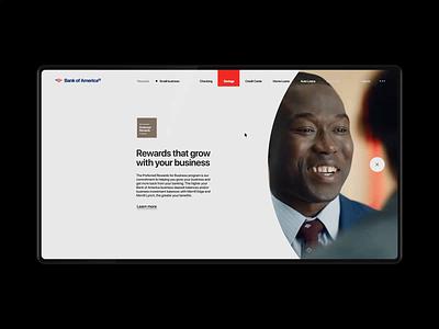 Bank Of America Website — Rethinking. Business Savings animation minimal web ux design ui