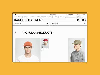 Kangol Website ✦ E-commerce. Home page animation minimal web ux design ui