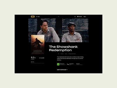 IMDb — New website. The Shawshank Redemption animation minimal web ux design ui