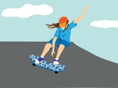 A girl on skateboard illustration design