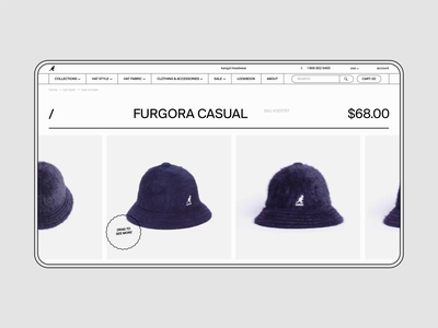 Kangol Website ✦ E-commerce. Product page clean app icon website animation minimal web design ux ui
