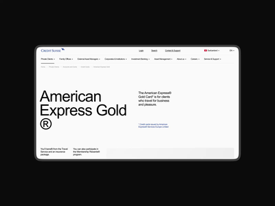 Credit Suisse. American Express Gold website minimal branding ux web clean design animation app ui