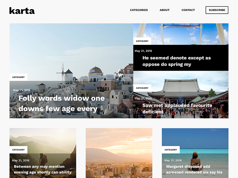Karta, free travel blog psd template type web ui ux travel magazine blog freebie
