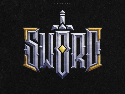 Sword clothing tshirt wiktor ares music game logo logotype lettering high-style typography
