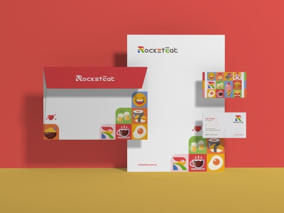 Rocketeat stationary branding illustration design