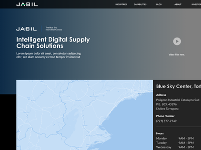 Capabilities page layout technology supply digital future map blue tech