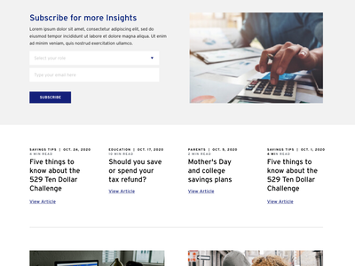 Insights Page layout fund college subscribe articles blog insights