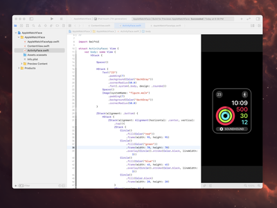 Apple Watch face in SwiftUI code face fitness swiftui swift apple watch apple