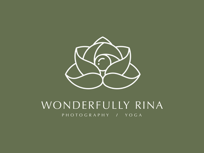 Photography & Yoga Logo green camera lens flower lotus icon illustration yoga logo photography yoga