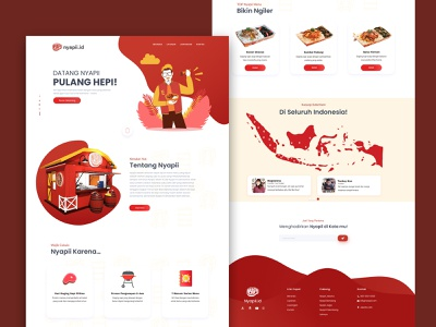 Landing Page Nyapii Fast Food web development website templates web website builder web designer web deisgn app design fast food traditional food nyapii website concept website website design landing page landingpage food illustration indonesian food fastfood app food