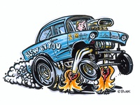 55 Chevy Hotrod Cartoon
