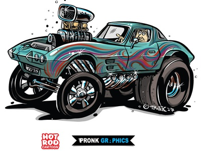 1963 Corvette Gasser Cartoon