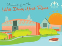 Walt Disney World Resort Post Card Illustration