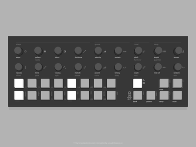 T-1 device step rhythm algorithmic midi melody music seq sequencer euclidean product design hardware user sound audio interface design ui