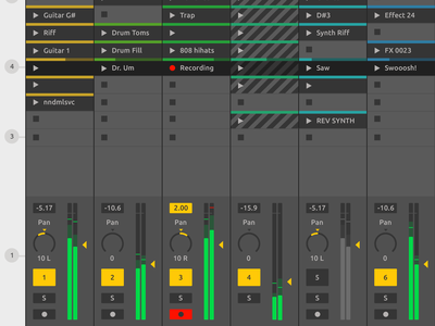 Ableton Live Redesign - Session View synth effect daw sound audio ui redesign live interface gui design ableton