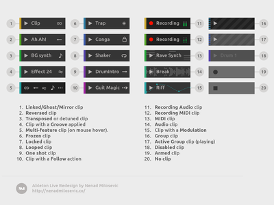 Ableton Live Redesign - Clip Types ux daw user unsolicited ui redesign live interface gui design ableton