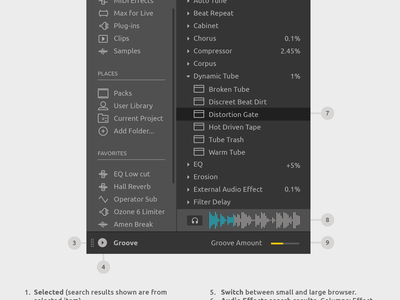 Ableton Live Redesign - Browser music vst plugin application software synth effect sound audio daw ui redesign interface design ableton
