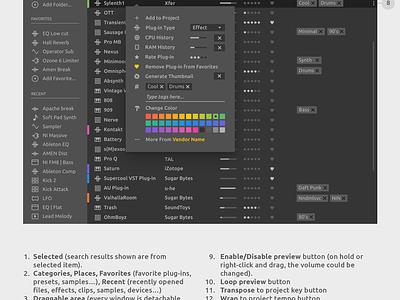Ableton Live Redesign - Browser Right Click music plugin au vst clean software sound audio daw concept ui live interface gui design ableton