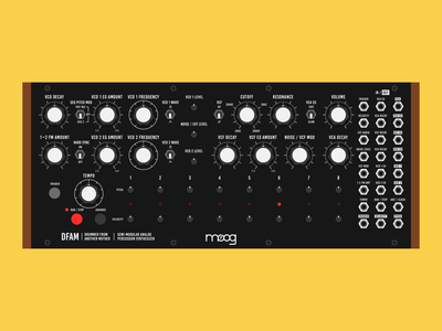 Moog DFAM synthesizer percussion synth illustration audio modular analogue analog rhythm machine drum machine drummer from another mother dfam moog