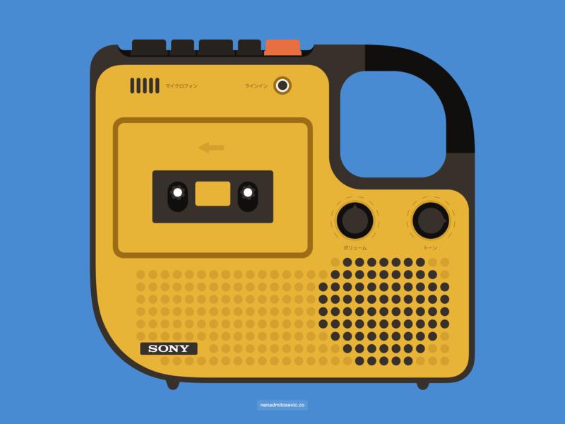 Sony TC 1210 illustraion tc1210 japan retro old school audio boombox player cassette vintage sony illustration