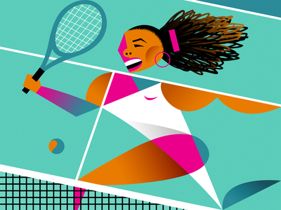 Serena graphic wimbledon teal abstract tennis sports illustration