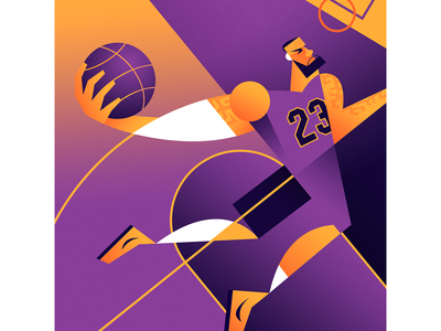 King James caricature lebron lakers basketball graphic sports illustration