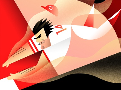 The Hit King abstract red cincinnati pete rose baseball graphic sports illustration