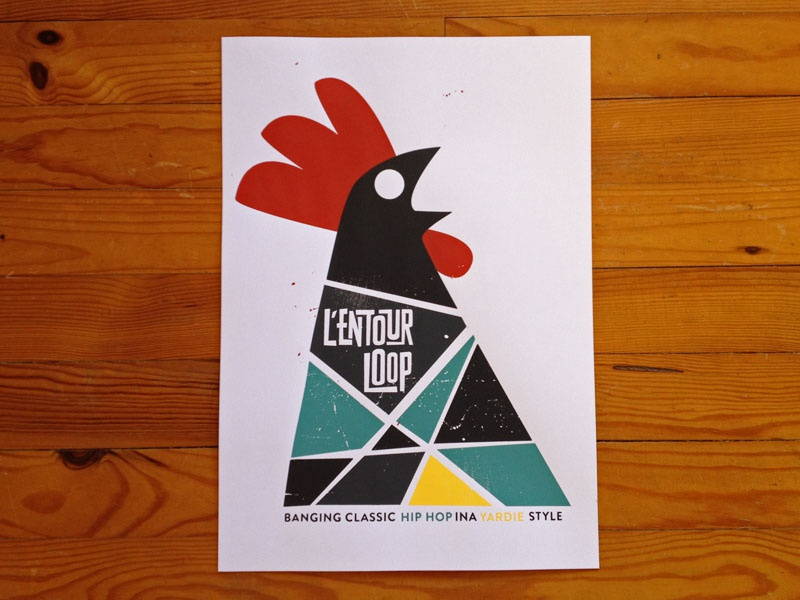 Entourloop screenprint poster
