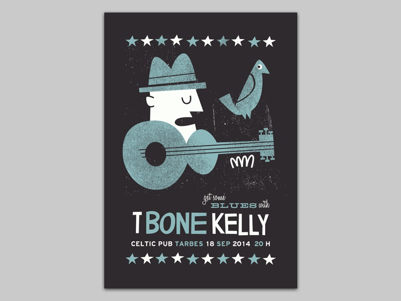 T-Bone Kelly gigposter poster blues gig poster illustration screenprint silkscreen tarbes