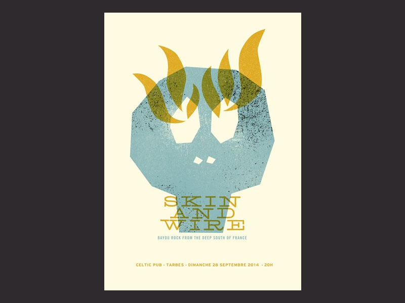 """Skin & Wire"" gigposter gig poster skin and wire poster gigposter illustration tarbes"